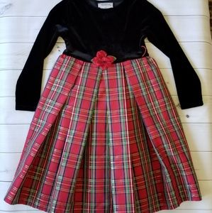 Youngland Black Velvet Metallic Plaid Holiday Dres